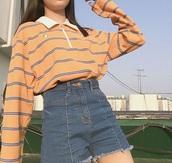 top,orange,peach,aesthetic,collar shirt,zip,stripes,oversized,cute,shirt,yellow shirt,striped shirt,long sleeves