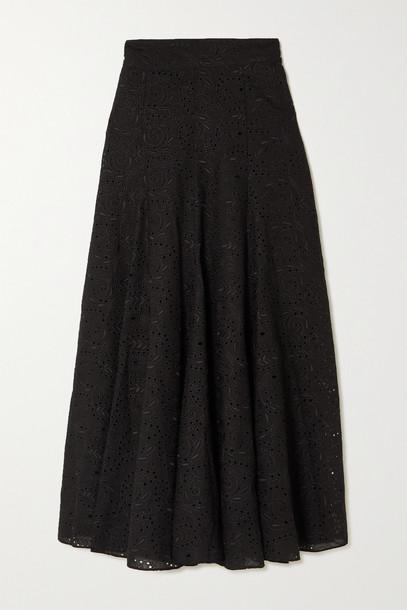 THREE GRACES LONDON - Amelina Broderie Anglaise Voile Midi Skirt - Black