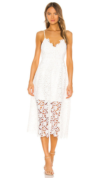 ASTR the Label Lace A Line Midi Dress in White