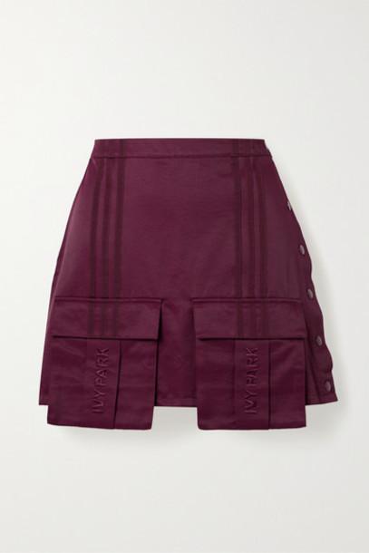 adidas Originals - Ivy Park Grosgrain-trimmed Cotton-blend Satin-twill Mini Skirt - Burgundy