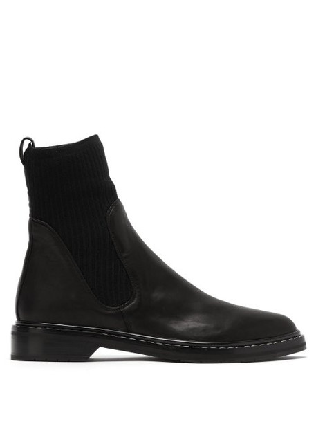 The Row - Fara Cashmere Insert Leather Boots - Womens - Black