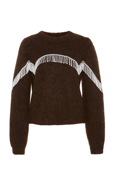 Ganni Beaded Fringed Cable-Knit Sweater Size: S in brown
