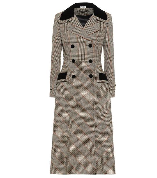 Miu Miu Checked wool-blend coat in brown