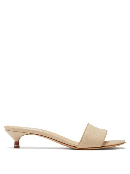 Gabriela Hearst - Garcia Linen Kitten Heel Mules - Womens - Cream