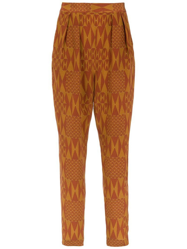 Andrea Marques printed silk pants in brown