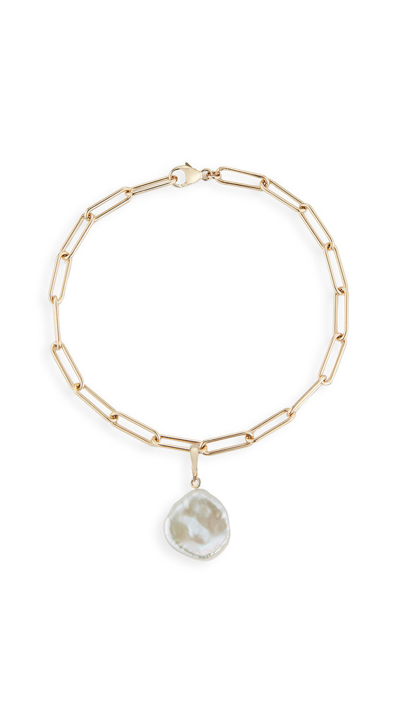 Mateo 14k Rounded Long Link Bracelet with Baroque Pearl in yellow