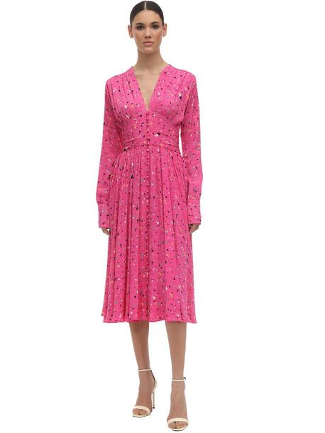 ROTATE Printed Satin Midi Dress in fuchsia