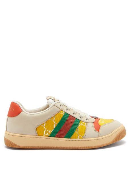 Gucci - Screener Web-stripe Gg-jacquard Leather Trainers - Womens - Yellow Multi