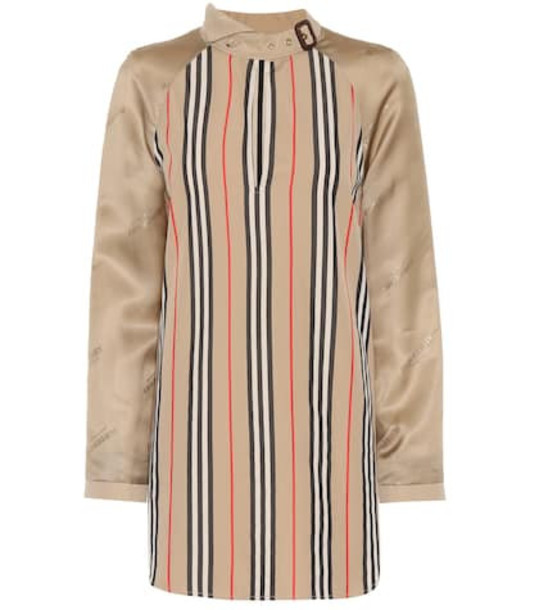 Burberry Striped cotton-blend blouse in beige