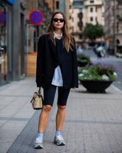shorts,black shorts,black leggings,sneakers,black blazer,bag,shirt