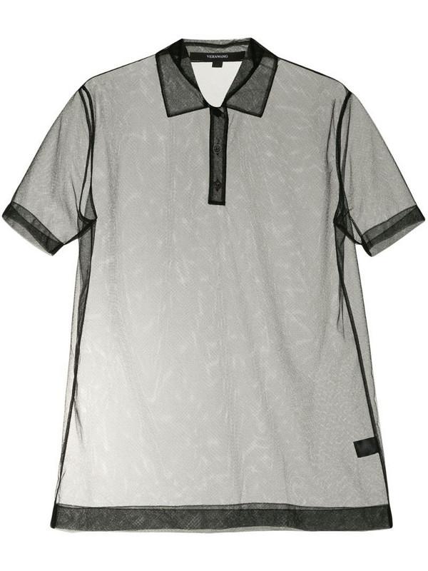 Vera Wang short sleeve tulle polo shirt in black