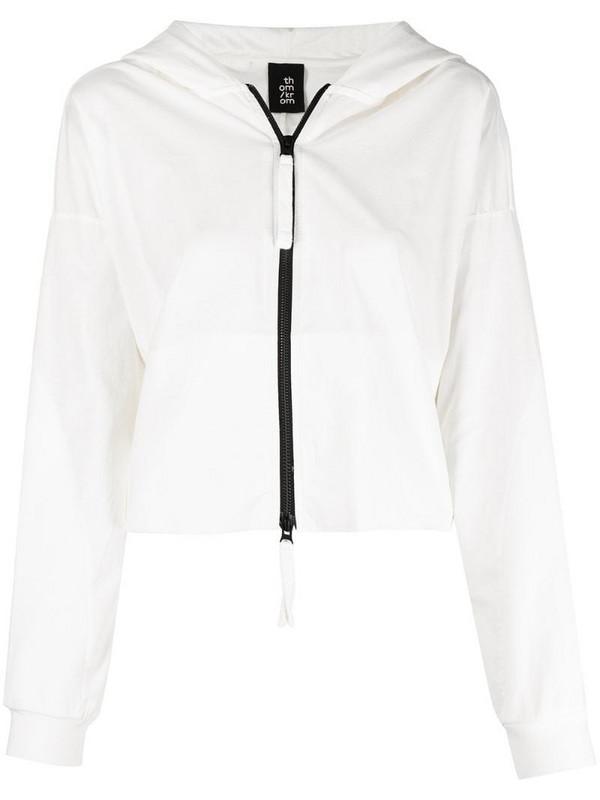 Thom Krom raw-edge crop hooded jacket in white