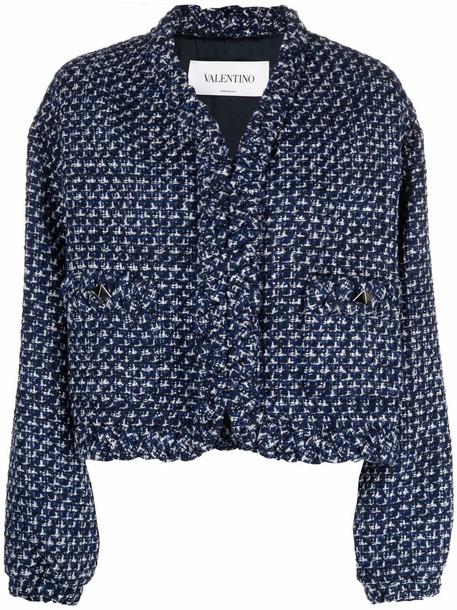 Valentino Rockstud tweed jacket - Blue
