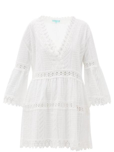 Melissa Odabash - Victoria V-neck Broderie-anglaise Cotton Dress - Womens - White