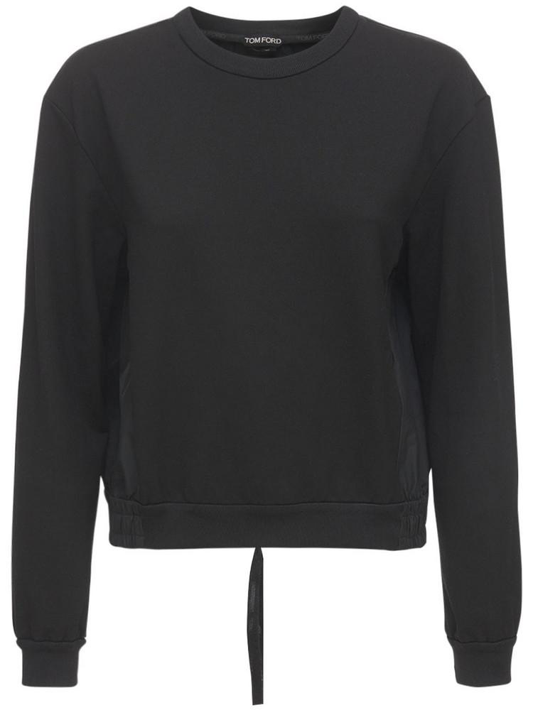 TOM FORD Cotton & Silk Taffeta T-shirt in black