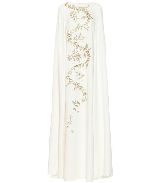 Oscar de la Renta Embroidered silk crêpe de chine gown in white