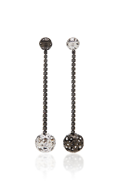 Colette Jewelry Ball Mismatched 18K White and Oxidized Gold Diamond Earrings