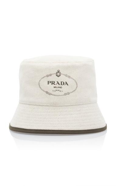 Prada Linen Bucket Hat in ivory