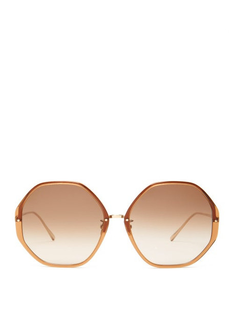 Linda Farrow - Oversized Heptagonal Acetate Sunglasses - Womens - Brown