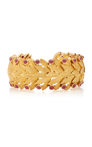 Eleuteri Vintage Buccellati 18K Yellow Gold and Cabochon Ruby Bracelet