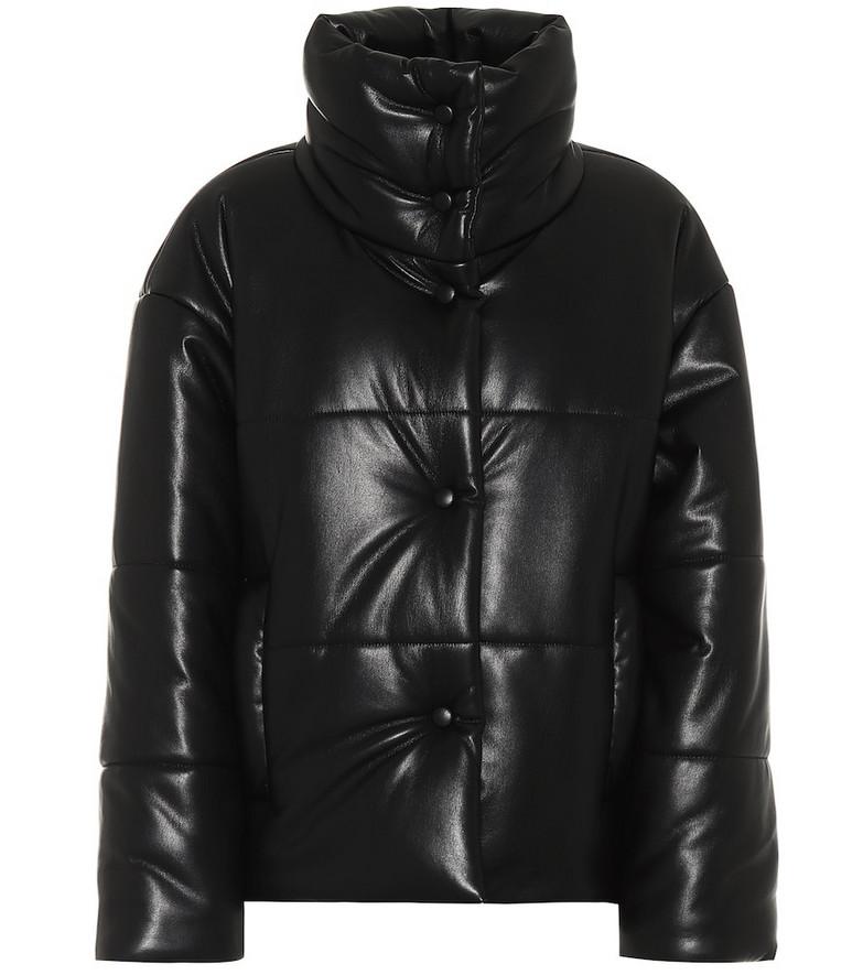 Nanushka Hide faux-leather puffer jacket in black