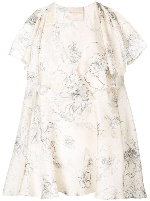 Erika Cavallini floral print silk blouse in neutrals