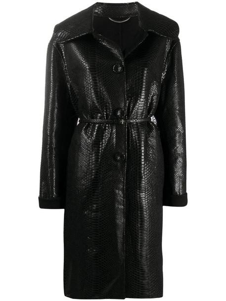 Ermanno Scervino snakeskin pattern midi coat in black