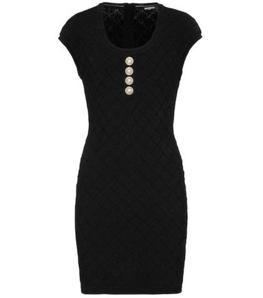 Balmain Stretch knit minidress in black