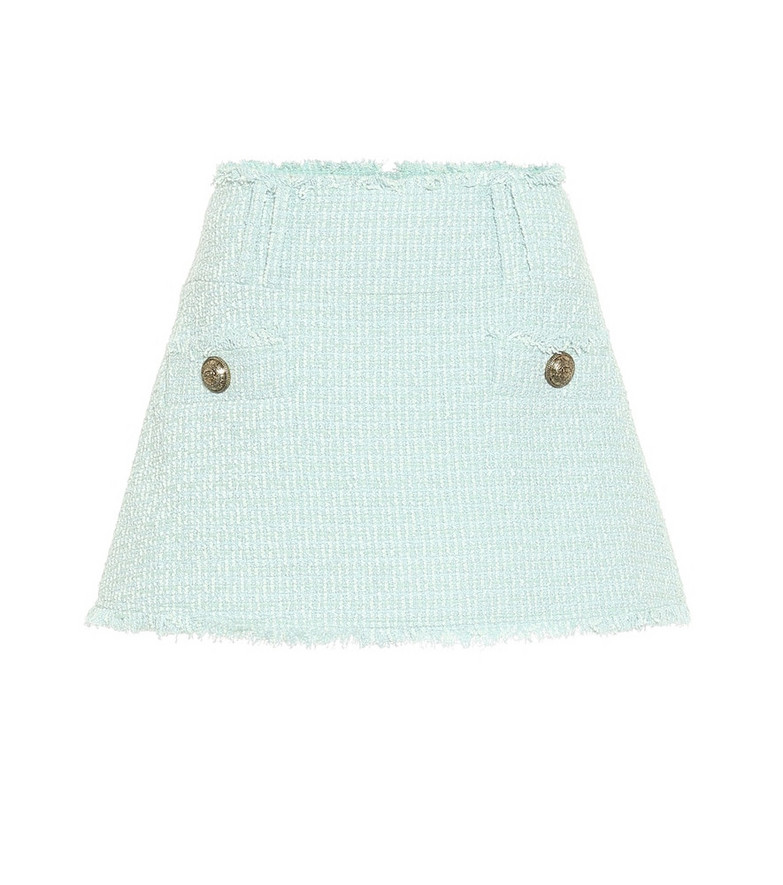 Balmain Tweed miniskirt in green