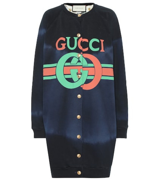 Gucci Logo cotton sweater in blue