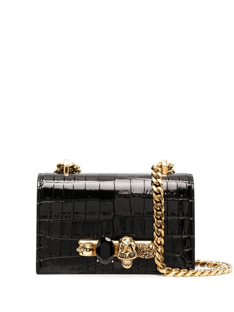 Alexander McQueen Jewelled crocodile-effect satchel in black