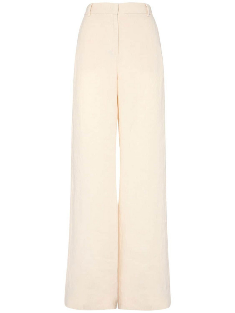 WEEKEND MAX MARA High Waist Linen Canvas Wide Leg Pants in ivory