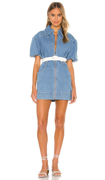 C/MEO Peripheral Short Sleeve Dress in blue / denim