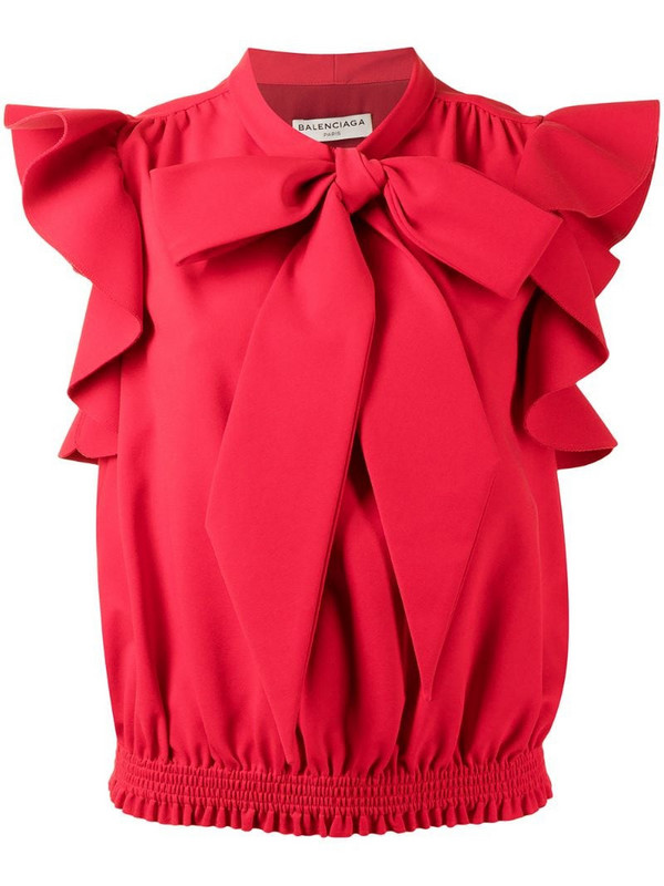 Balenciaga Pre-Owned bow detail sleeveless blouse in red