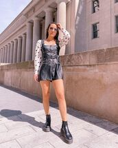 romper,leather,black romper,black boots,ankle boots,white blouse,polka dots
