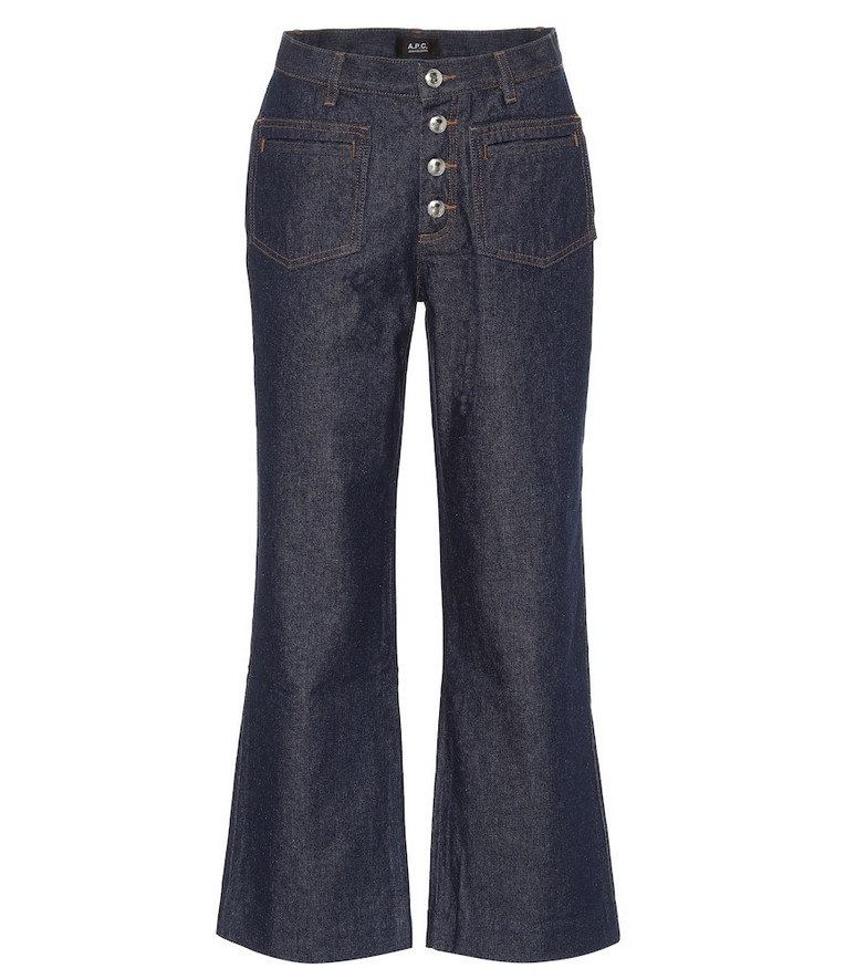 A.P.C. High-rise kick-flare jeans in blue
