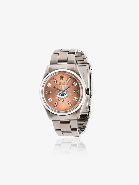 Jacquie Aiche pink Rolex eye stainless steel watch
