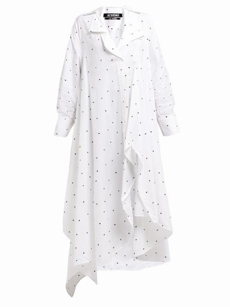 Jacquemus - Rosaria Polka Dot Front Slit Maxi Dress - Womens - White Multi