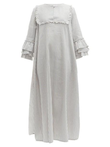 Luisa Beccaria - Ruffled Striped Linen Blend Midi Dress - Womens - Blue Stripe