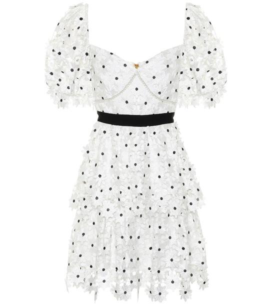 Self-Portrait Daisy guipure-lace minidress in white