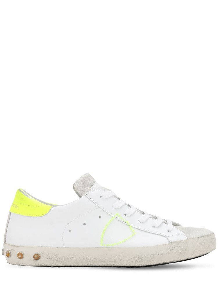 PHILIPPE MODEL Paris Veau Studs Leather Sneakers in white / yellow