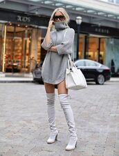 sweater,grey,high neck,warm