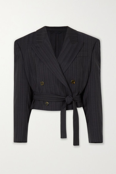 Acne Studios - Josie Cropped Double-breasted Pinstriped Wool Blazer - Navy