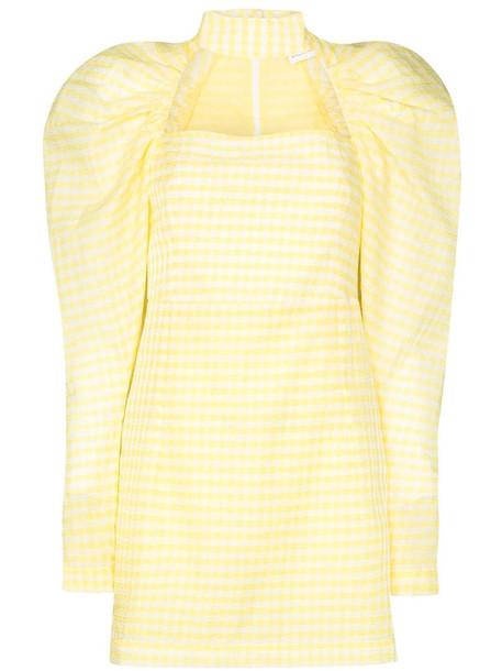 ROTATE Kaya choker gingham mini dress in yellow