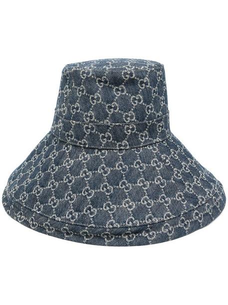 Gucci GG supreme denim wide brim hat in blue