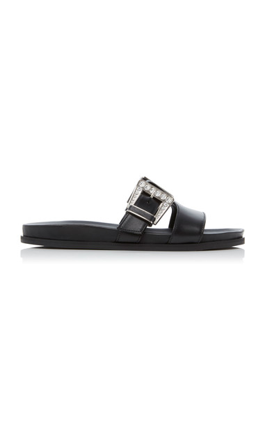 Balmain Peony Buckled Leather Sandals in black