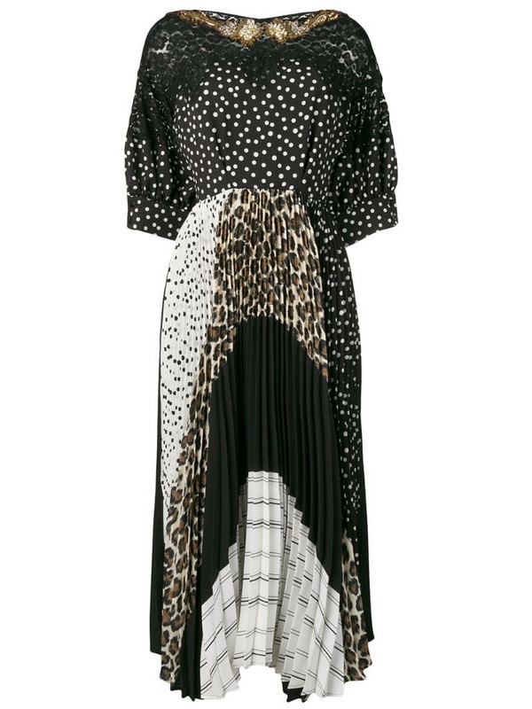 Antonio Marras mixed-print panelled dress in black