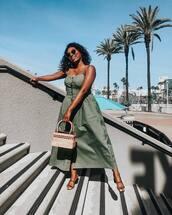 dress,maxi dress,sleeveless dress,sandals,boxed bag,asos