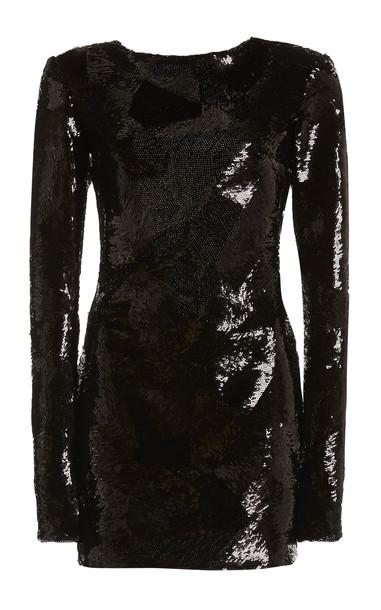 Nervi Ross Sequined Mini Dress in black