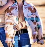 coat,bryan lanning,wool button up coat,native pattern,cream,turquoise